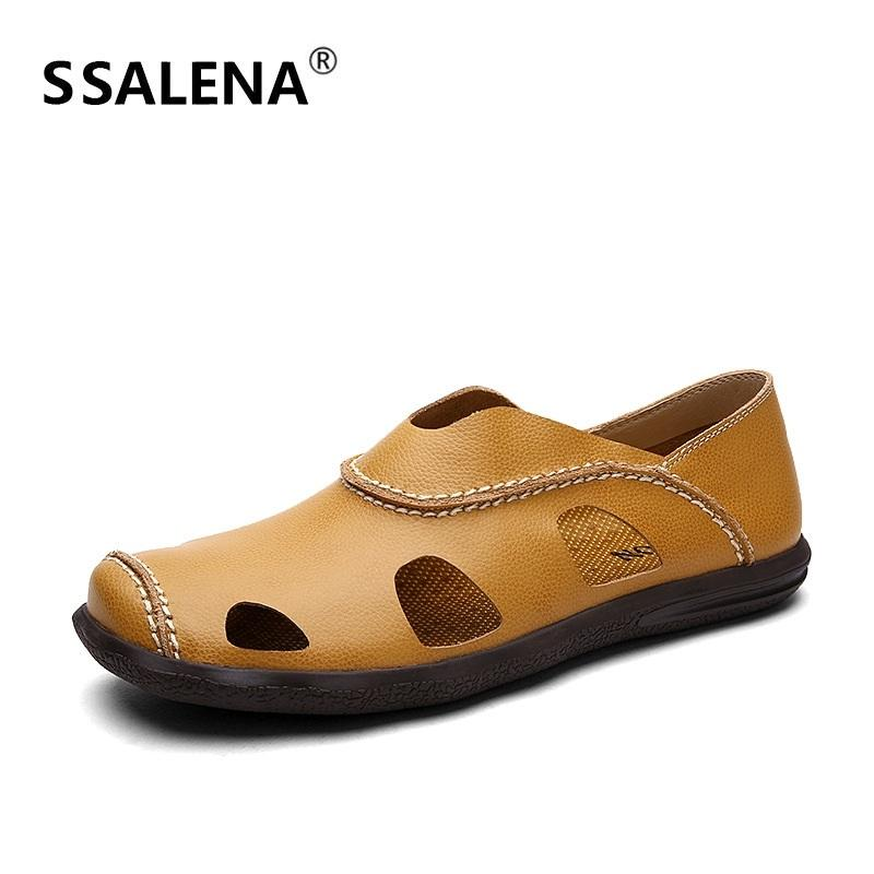 f48b21cebf8 Summer Closed Toe Sandals Men Genuine Leather Hollow Out Soft Footwear Man  Slip On Loafers Casual Driving Shoes A863 Sparx Sandals Blue Shoes From  Annawawa