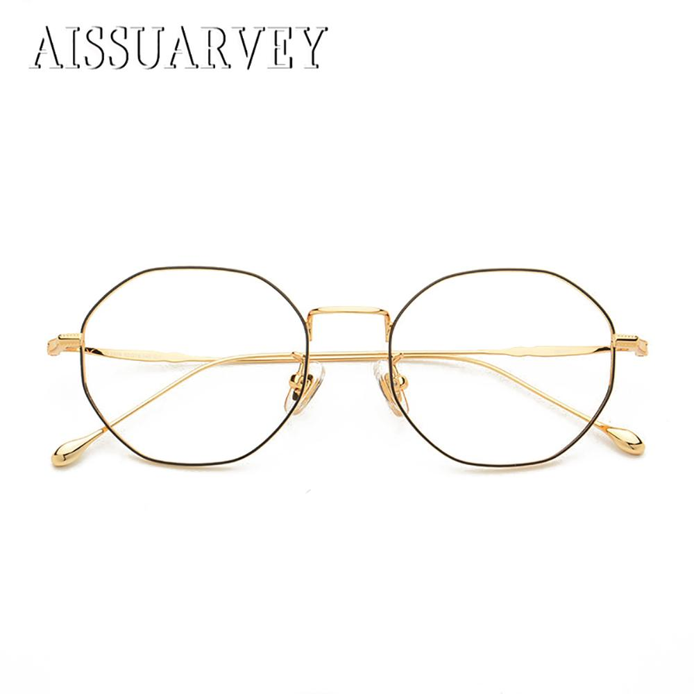 46293255c2 2019 Pure Titanium Retro Hexagon Vintage Optical Eyeglasses Frame Brand  Designer Top Quality Fashion Oversize Spectacles Golden Light From Maocai
