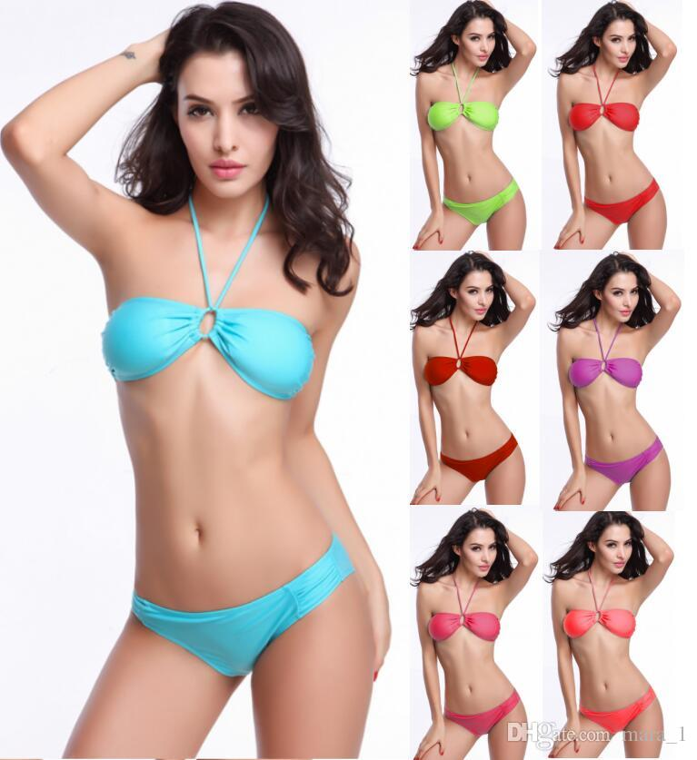 60504d437cfa1 Women Solid Color Bikini Wireless Padded Swimsuit Sexy Summer Swimwear  Drawstring Bra Candy Color Beachwear Bikini Set DHL UK 2019 From Mara 1