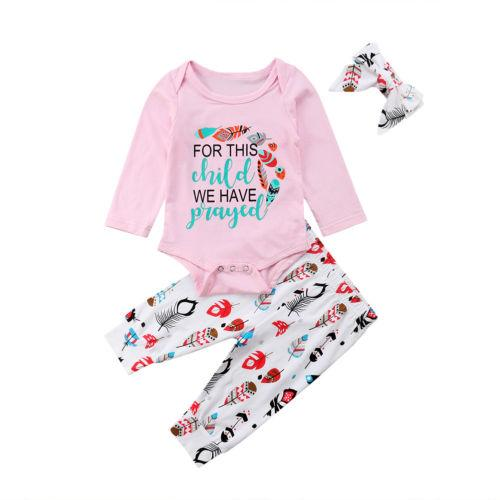 1d74cb3b4868 2019 Baby Girls Going Home Letter Long Sleeve T Shirt +Pants +Headband  Outfits Feather Leggings Headband Set From Friendhi, $33.6 | DHgate.Com