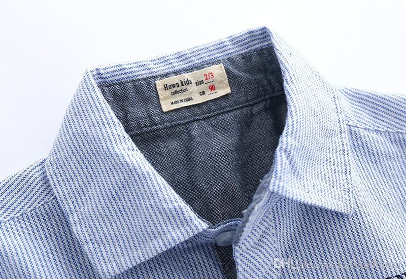 Boutique boys shirts pure cotton striped English letter printed kids clothing wholesale cheap China 90-100-110-120-130