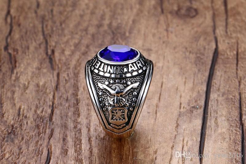 """2018 New Arrival """" United States Air Force"""" Stainless Steel Ring with black/red/blue Rhinestones for men and woman Size 8-12 Hot Sale!"""