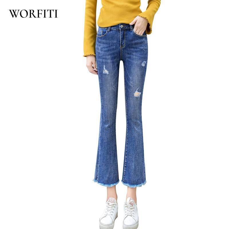 b22d454ef8 Compre Autumn Flare Jeans Pants Stretch Skinny Jeans Mujeres Pierna Ancha  Slim Hip Denim Boot Cuts Long Pantalones A  44.82 Del Yujian18