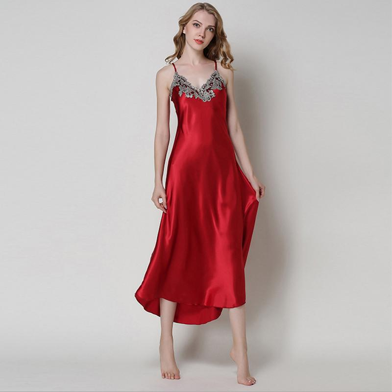 Silk Gowns For Women: 2019 Ladies Sexy Silk Satin Nightgown Sleeveless Nighties