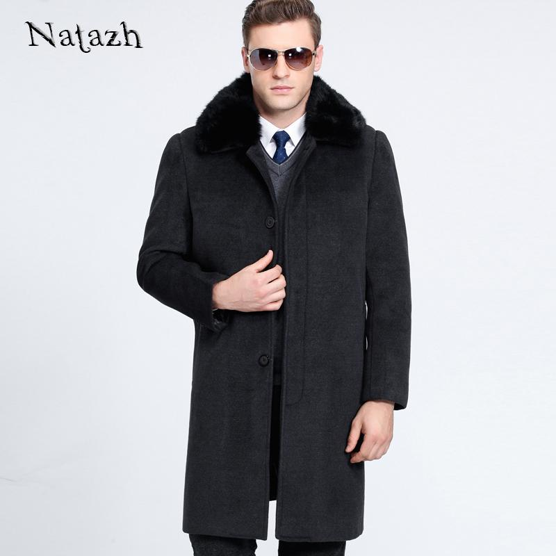 Wholesale-NATAZH 2017 New Man Wool Coat High Quality Winter Jacket Men Warm Woolen Long Cashmere Coats Business Gentleman