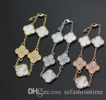 Wholesale foreign trade selling black and white flower bracelet four leaf flower between 18K rose gold bracelet