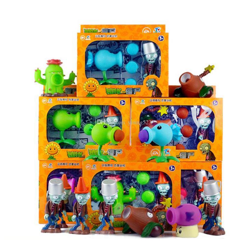 PVZ Acción Películas Juegos Figuras Pueden lanzar pistolas BB popular juego Plants vs Zombies divertidos Juguetes Navidad Pascua Año Nuevo regalo de niño Conjunto completo