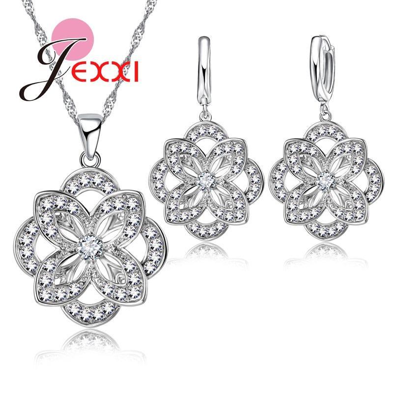 YAAMELI Double Flower Silver Jewelry Set For Lady Women Elegance ... 7589a682e619