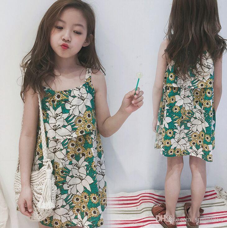 a319c11e04d 2018 New Summer Children s Clothing Girl Sun Flower Dress Girl ...