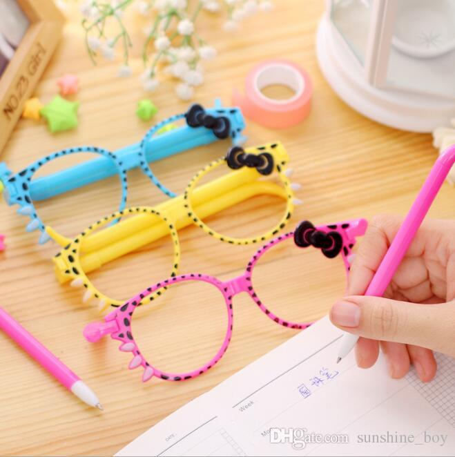 Ball pen 40pcs = Glasses 20pcs/lot Cartoon Cat Bow Glasses Ballpoint Pens Cute Ball Point Pen Office School Stationery Gift Prize For Kid
