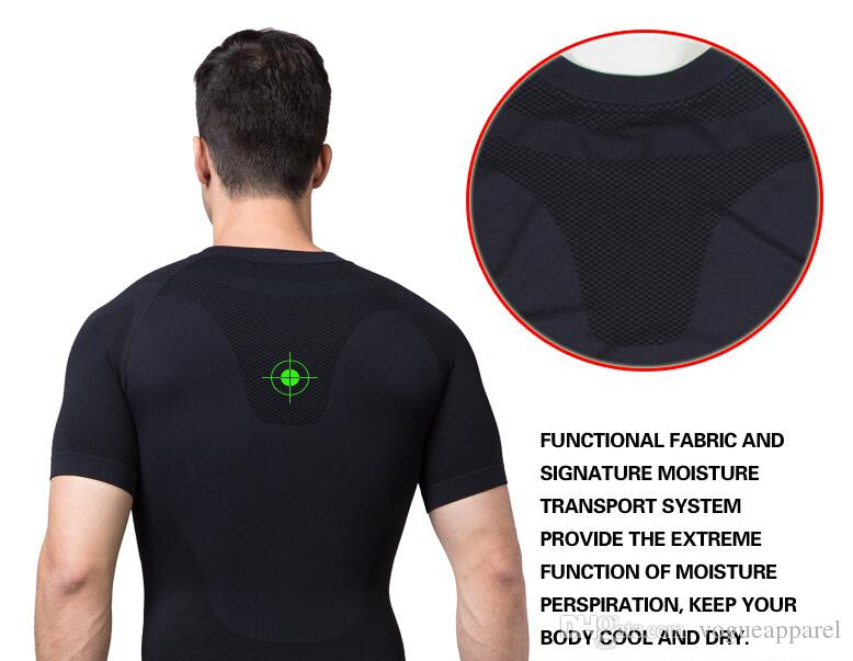 Zerobodys New Men Shape Tops Undershirt Slimming Body Shaper Short Sleeve Sportswear Fitness Chest Abdomen Shapewear for man