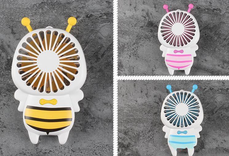 Heißer Verkauf Handlicher USB-Ventilator-Mini-Bienen-Griff, der elektrische Ventilatoren lädt Dünnes tragbares leuchtendes Nachtlicht für Innenministerium-Geschenke 3 Farben