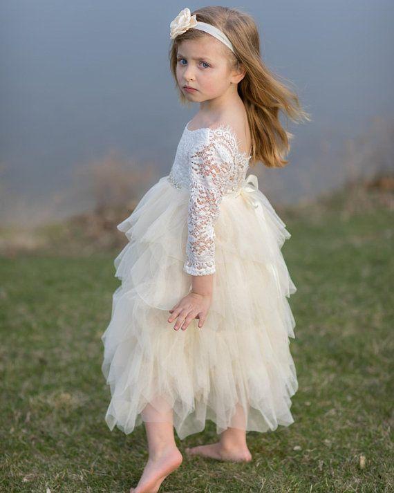 2018 Yeni Prenses Fildişi Uzun Kollu A-line Çiçek Kız Elbise Ruffles Kat Uzunluk Kızlar İlk Communion Elbise Dantel Düğün Parti Elbiseler