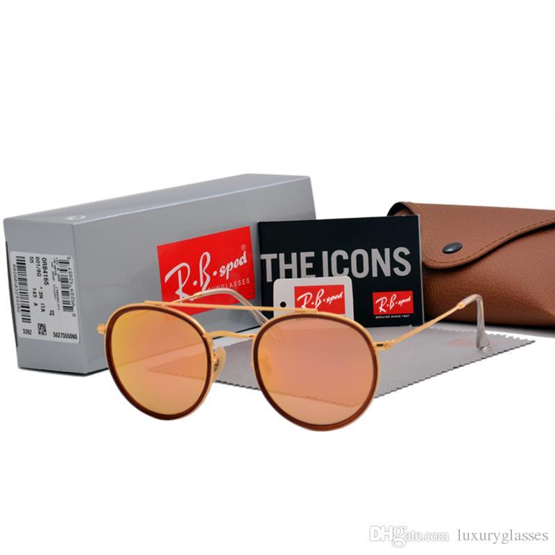 Compre Aaa + Mais Alta Qualidade Rodada Estilo Óculos De Sol Para Mulheres  Dos Homens Liga Frame Espelhado Lente De Vidro Duplo Ponte Retro Eyewear  Com ... 7659883af6