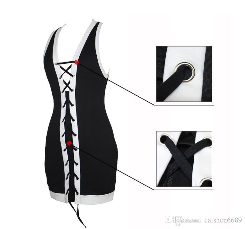 Hot 2018 vendaje sin mangas vestido ajustado bodycon negro + blanco moda vestido delgado mini paquete sexy vestido de la cadera de verano de las mujeres ropa casual