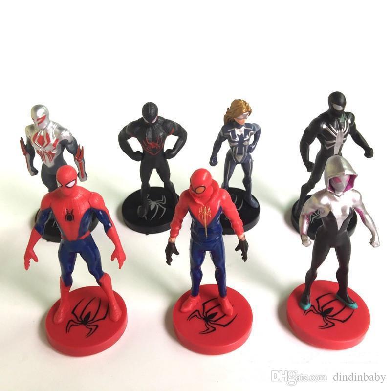 Acquista spiderman action figures cartoni animati 7 pz pvc modello