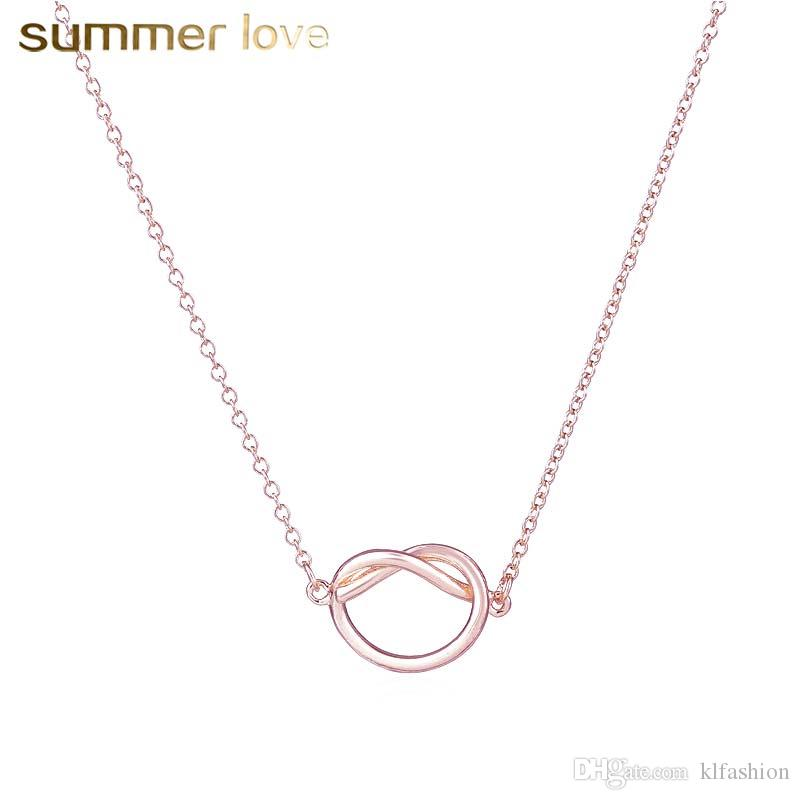 894d1d18a3c3b New Arrival Copper Infinity Forever Love Knot Necklace Pendants For Couple  Girlfriend Small Cute Rose Gold Color Chian Necklace 2018