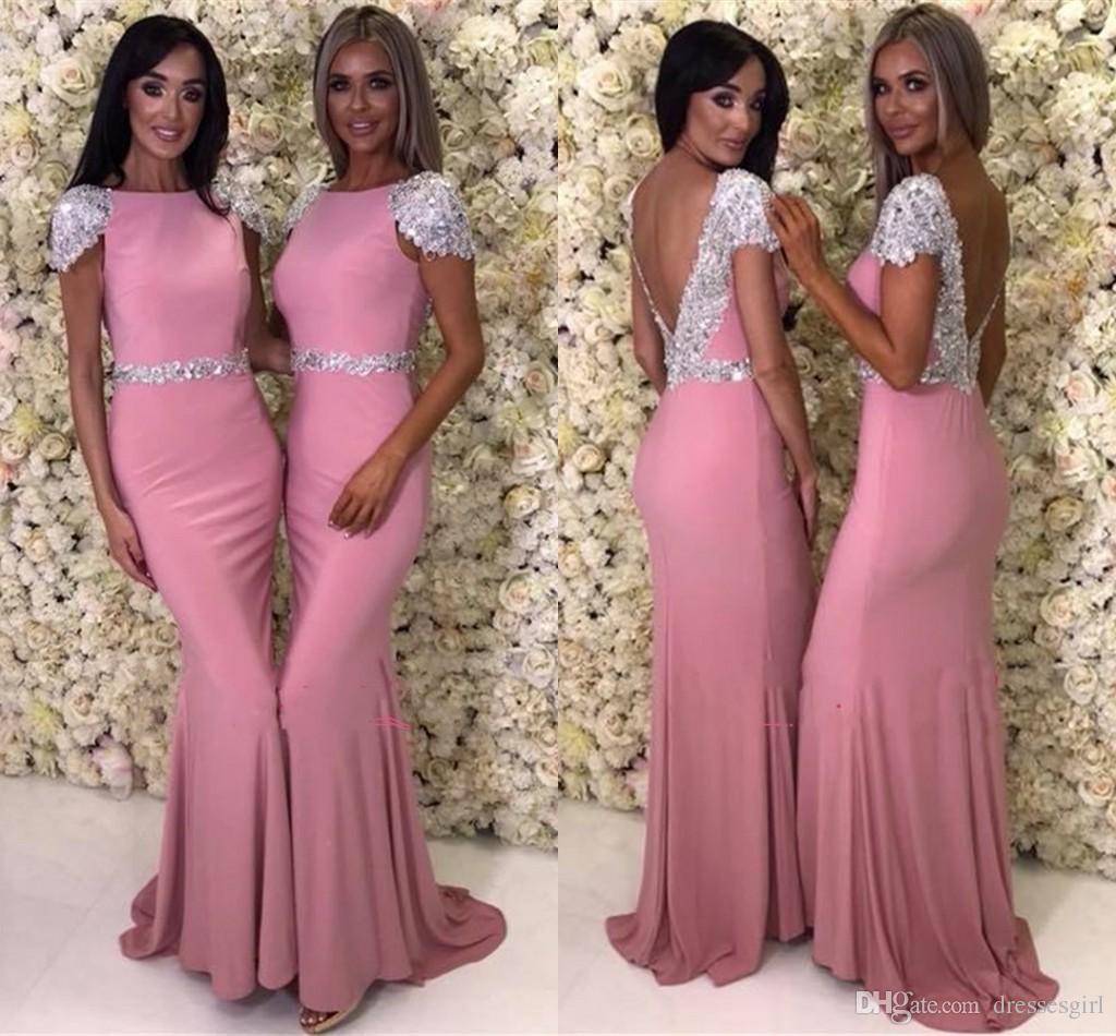 Compre Vestidos De Dama De Honor Saudita Árabe Elegante Con ...