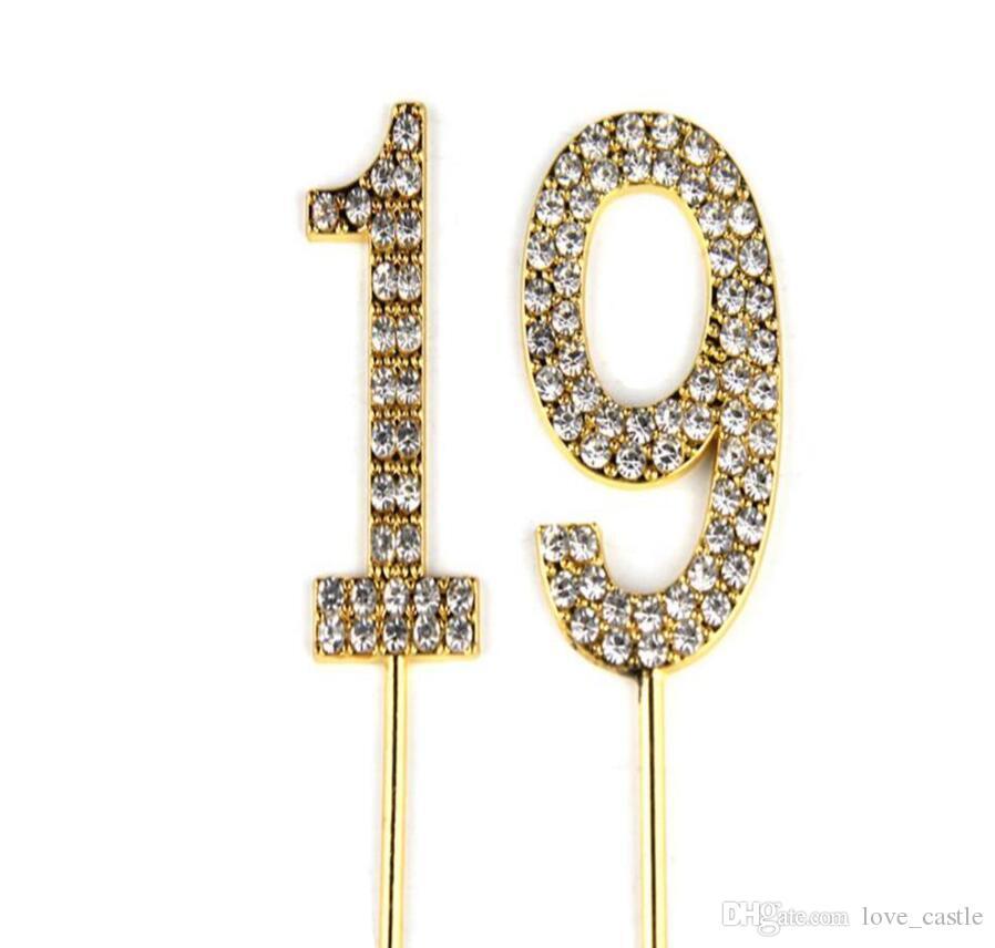 Großhandel Nummer 19 Cake Topper 19 Baby Geburtstag Hochzeitstag
