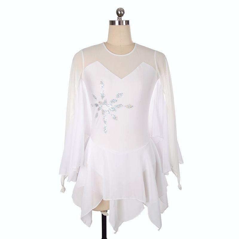 Competitive Price White Chiffon Skirt Ice Skating Training Dress Jewel Neck Girls Dress Long Sleeve 2018