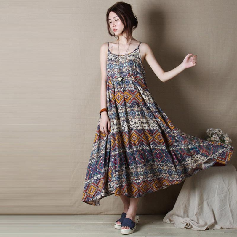 Women Print Dress 2018 Sleeveless Casual Sweet Cotton Linen Mori Girl Women Clothes  Dress Long Loose Vintage Vestidos Green And White Dress For Party Pretty ... f7592a3970a0