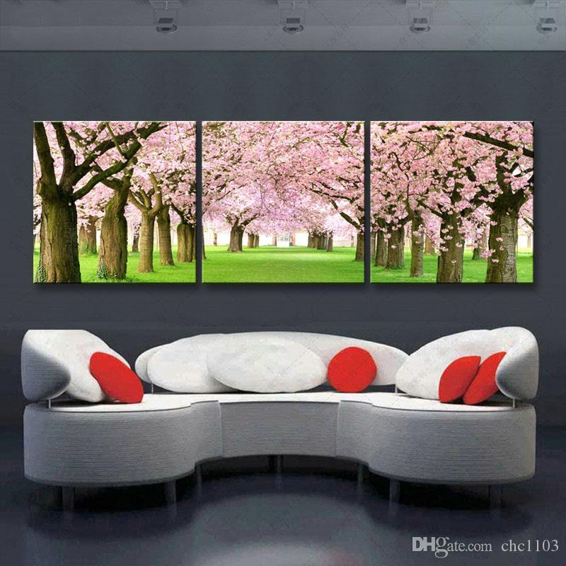 3 parça yüksek çözünürlüklü baskı Kiraz çiçekleri tuval yağlıboya posteri ve duvar sanatı oturma odası resmi YF3-001