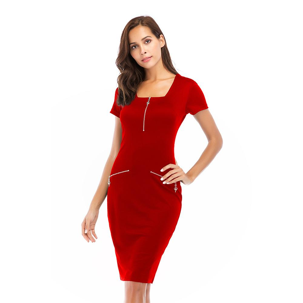 b3fdc0e3a8685 S 2XL Women Square Neck Front Zipper Short Sleewve Dress Pure Color Summer  Dress Wrap Hip Work Office Formal Dress Lulu Party Dresses 4 Evening  Dresses From ...