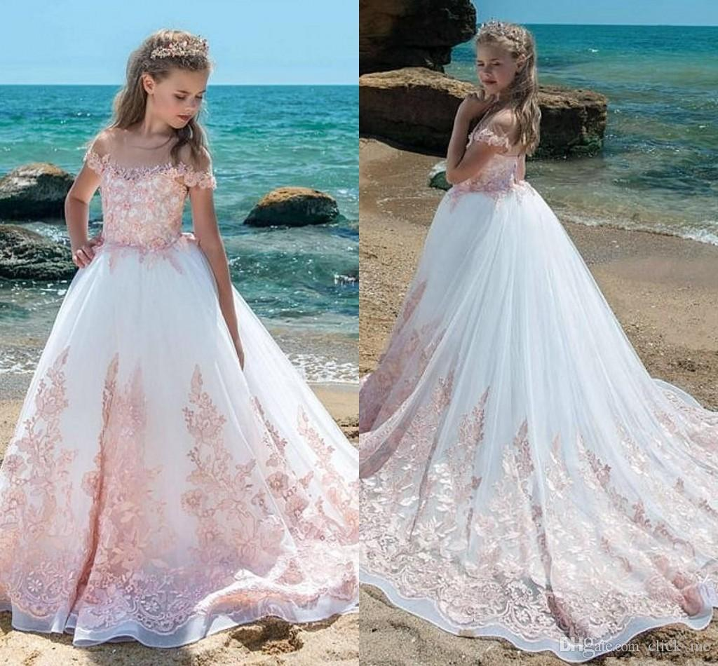 Ivory Pink Lace Girls Pageant Dresses For Teens Sheer Neck Cap ...