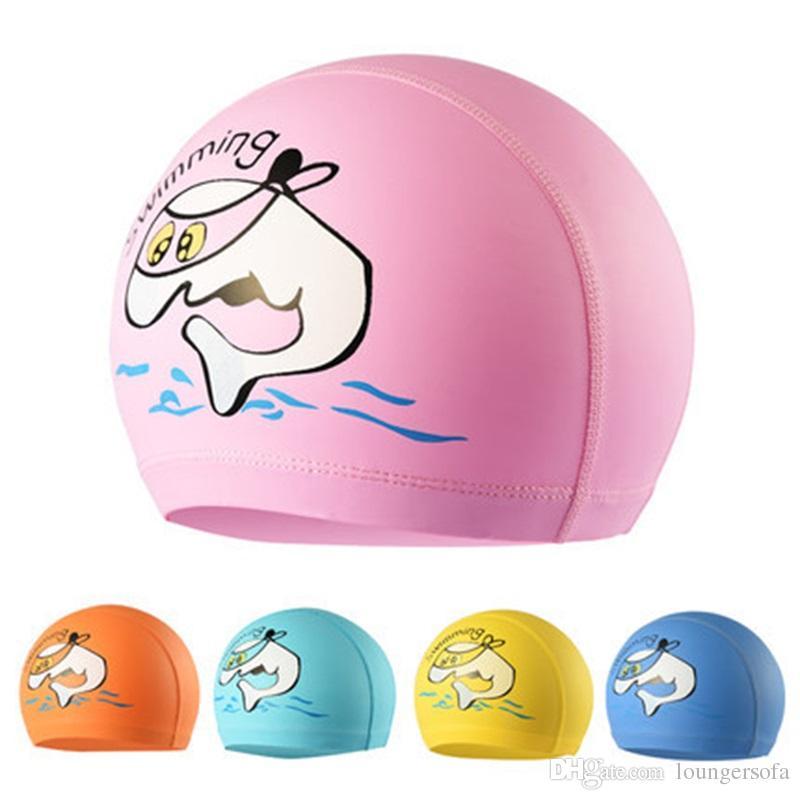 جميل للماء حماية الأذن قبعات السباحة الكرتون pu القماش الاستحمام كاب للأطفال عالية المرونة المياه الرياضة أداة 5zy x