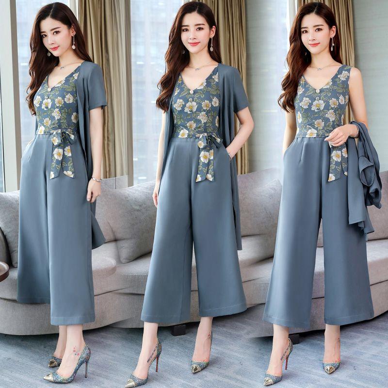 cheaper 297db f752a Moda elegante 2 Peças Ternos de Verão Mulheres blusa de manga curta blusa e  longo floral macacão macacão calças de pernas largas