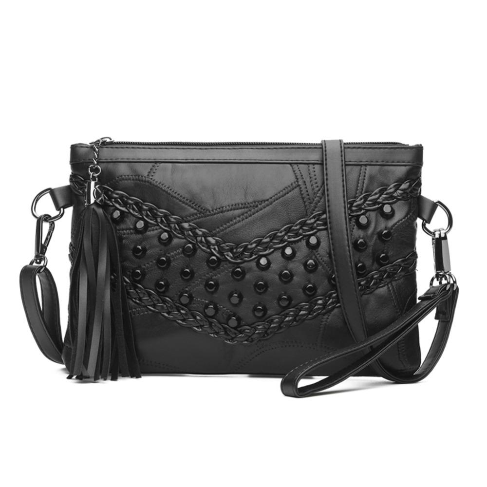 26f2c5ddd0 PU Tassel Handbags Black Women  Bag Small Sheepskin Braid Weave Messenger  Crossbody Bag 2018 Rivet Shoulder Bolsa Feminina Packs Purses For Women  Designer ...