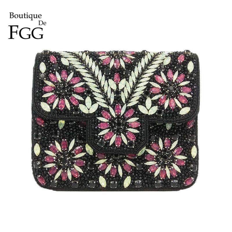 ec7faf8250 Boutique De FGG Vintage Indian Hand Made Women Black Beaded Clutch Purse  Crystal Flower Evening Bag Wedding Bridal Party Handbag Leather Purse Gold  Clutch ...