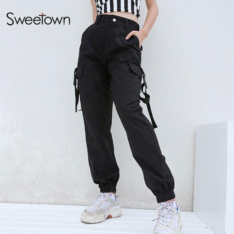 Acheter Sweetown Plus Size Harajuku Cargo Pants Femmes Noir Taille Haute  Pantalon Bomber Femme Street Style Femmes Joggers Pantalon De Jogging  D1892606 De ... 298f7c65ff08