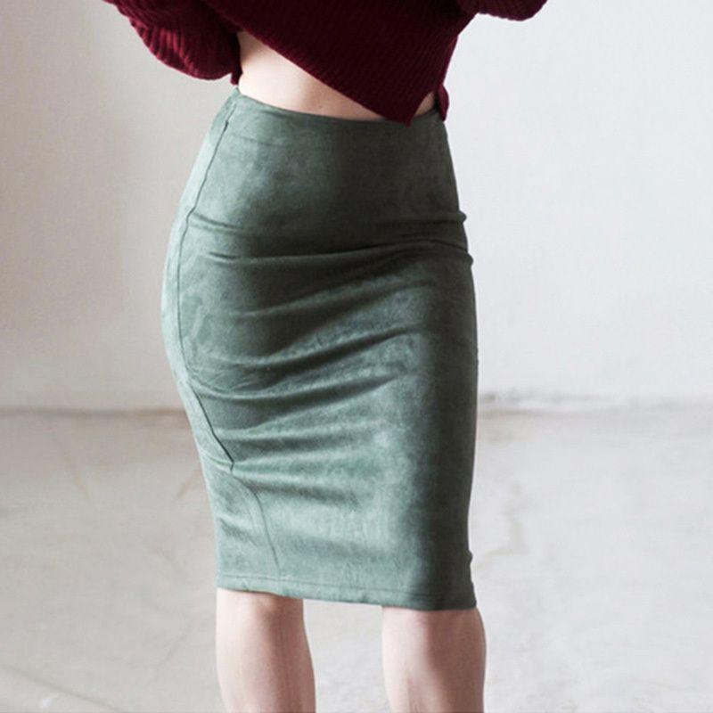562f918b13 2019 Autumn Fashion Women Suede Solid Slim Pencil Skirt Elegant Basic High  Waist Bodycon Split Knee Length Skirts Female Online with $32.74/Piece on  ...