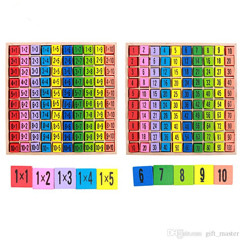 99 Multiplication Table Toy Baby Wooden colorful 10*10 Figure Blocks Arithmetic Educational Games Toys Teaching Aids For Kids J