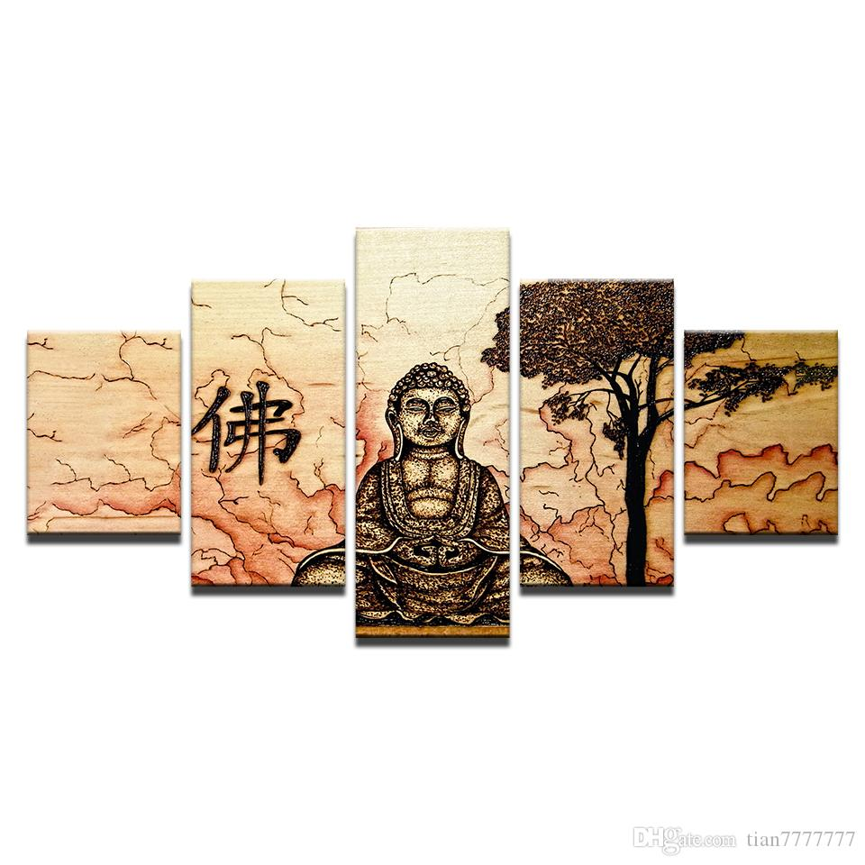 Abstract Buddha Zen Oil Painting On Canvas 5 Panel No Frame Print Poster Picture For Bedroom Home Wall Decor Artwork