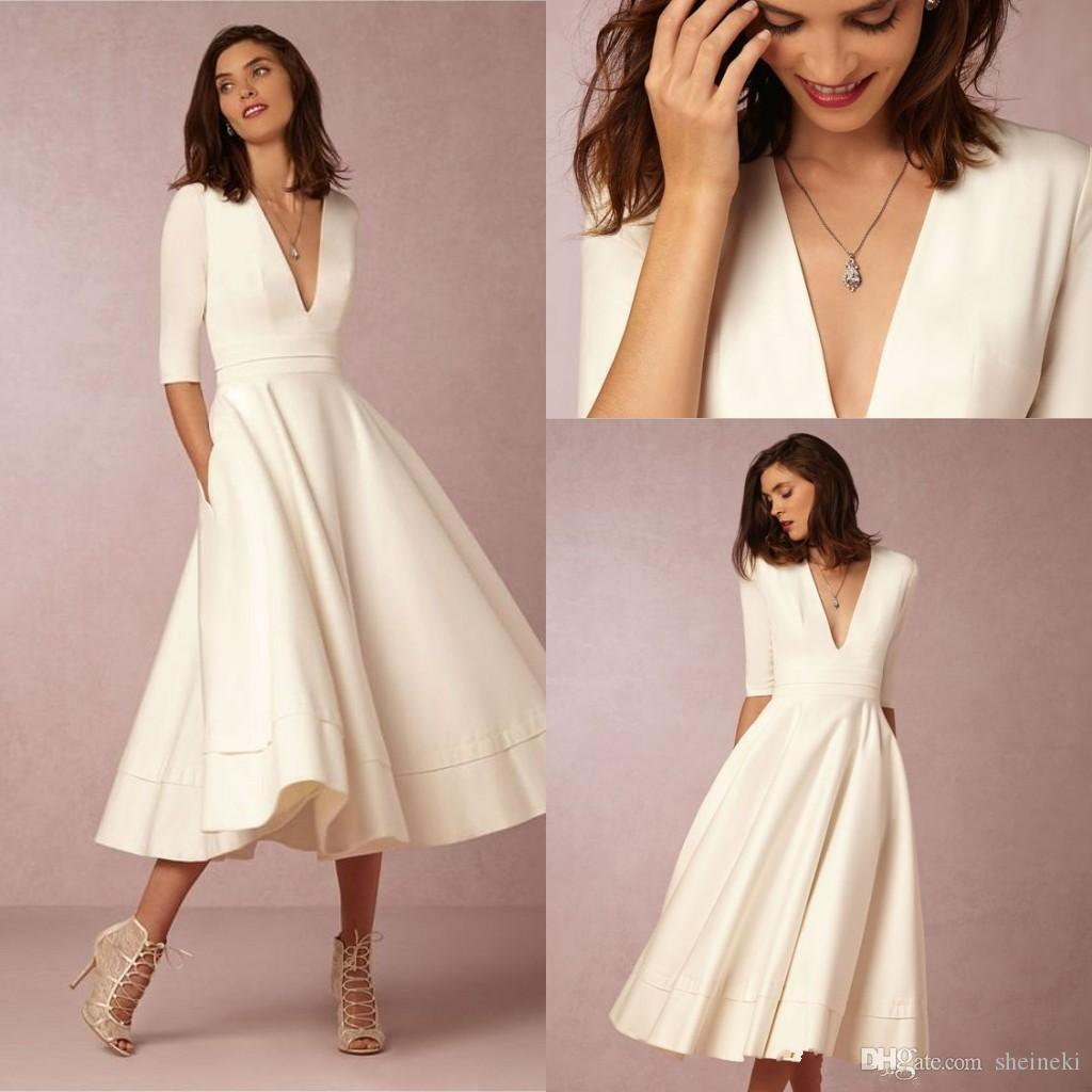 Simple Wedding Dresses You Can Wear Again: Discount 2018 Simple New Vintage Deep V Neck Half Sleeves