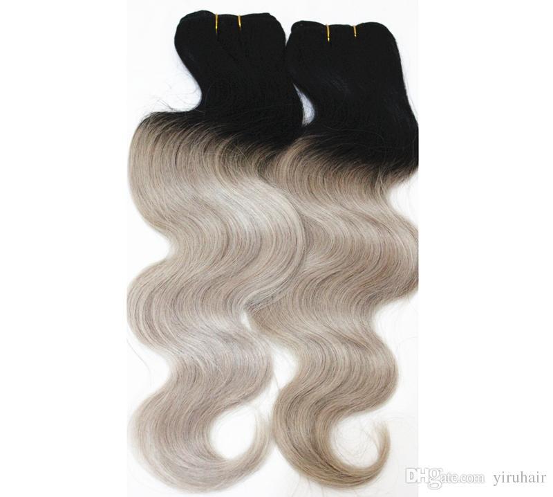 4 Paketler Malezya İnsan Saç Vücut Dalga Örgüleri Ombre Saç Uzantıları 1B Sarışın Yeşil Mor Kırmızı Iki Tonluk Malezya Saç Ürünleri 10-18 inç