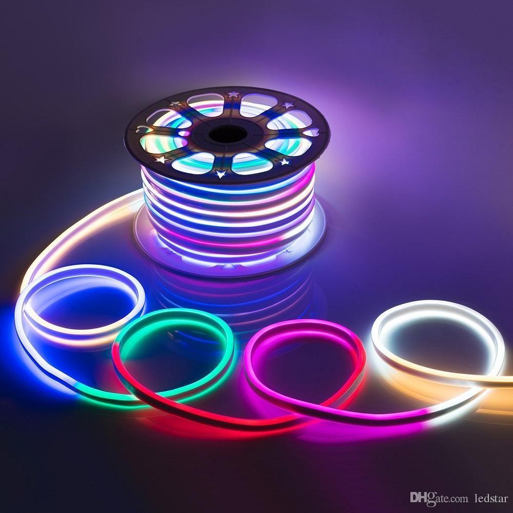 Colored Led Lights >> Ac 110 240v Flexible Rgb Led Neon Light Strip Ip65 Multi Color Changing 120leds M Led Rope Light Outdoor Remote Controller Power Plug