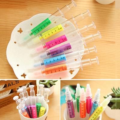 6PCS/lot Novelty Candy Color Needle Shape Fluorescent Pen Highlighter Makers Promotional Stationery Glitter Gift kid gift