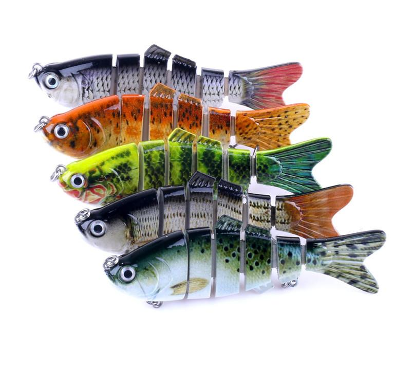 6 segments ABS Plastic Fly Fishing bait 18g 10cm Simulation diving Swimming Rattlin Laser Crank bass Lure
