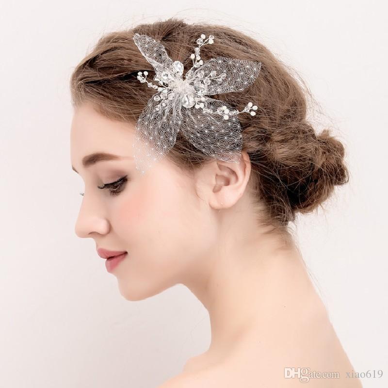 c31375381bf6e Fashion Women Headpiece Lace Floral Bridal Silver Hair Clip Accessories  Handmade Wedding Hair Piece Bridesmaid Headwear