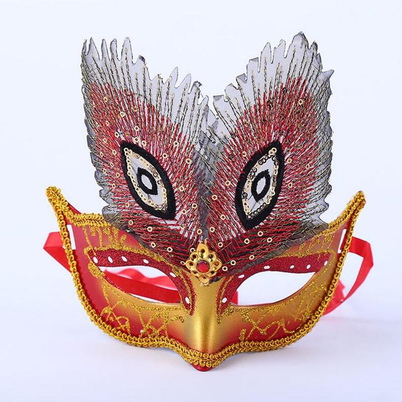 2018 New Colorful Peacock Eye Half Face Mask Girls Women Performance Ball Masks Halloween Dance Party Dress Decoration
