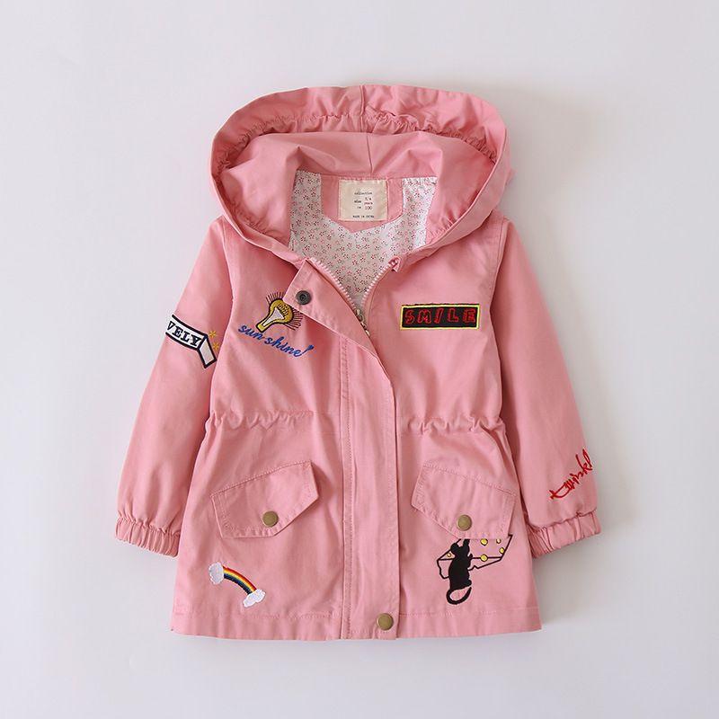 ddb4f9411 Baby Girls Jackets Kids Autumn Children Outerwear Embroidery Rainbow ...