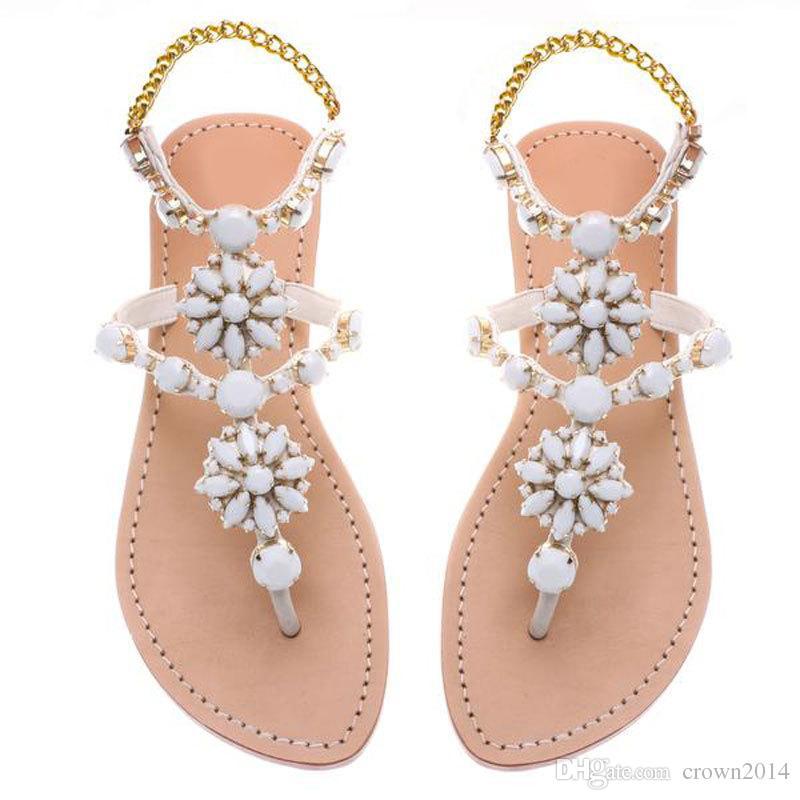 2019 Mode De Luxe Strass Cristal Été Chaussures De Plage Femmes Sandales Designer Flops Pour Femmes Pantoufles Plage De Mariage Chaussures Pour La Mariée
