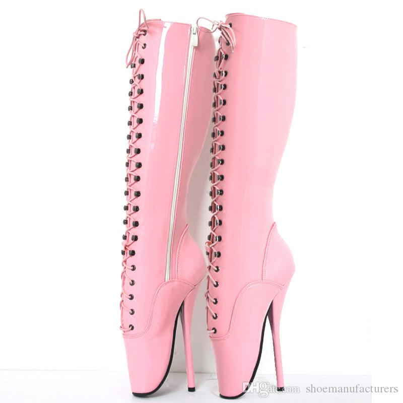 fb36263a269 Großhandel 18 Cm   7 Frauen Spike High Heels Fetisch Ballettschuhe Lace Up  Rosa Mann Sexy BDSM Cosplay Schuhe Unisex Kniehohe Stiefel Boot Plus Größe  Von ...