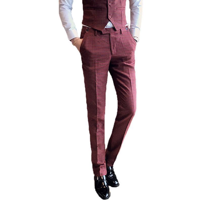 Acquista Pantaloni Da Uomo Rossi Da Uomo 2018 Fashion Fit Eleganti Da Uomo  Pantaloni A Quadri Scozzesi Taglia 29 30 31 32 33 34 A  59.91 Dal Vanilla15  ... 25fa2180de3