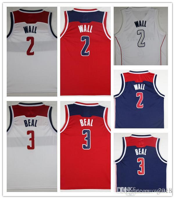 2018 Wholesale City 2018 New Cheap 2  Wall Jerseys Red White Shirt 3  Beal  Basketball Jersey Embroidery Logos Wall Jerseys From W2018 e00cb81b8