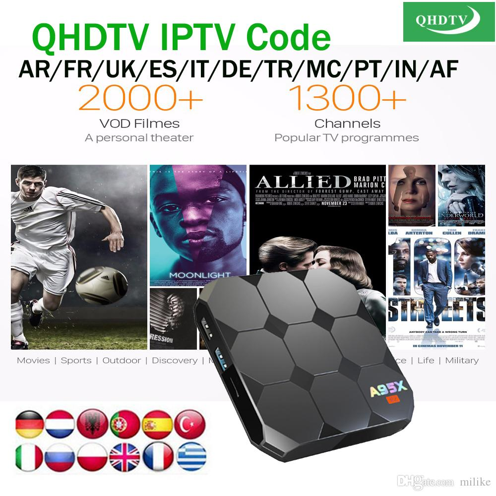 A95x R2 2/16GB Android 7 1 smart tv box with QHDTV 1year code subscription  European iptv channels for Arabic Belgium French Portuguese
