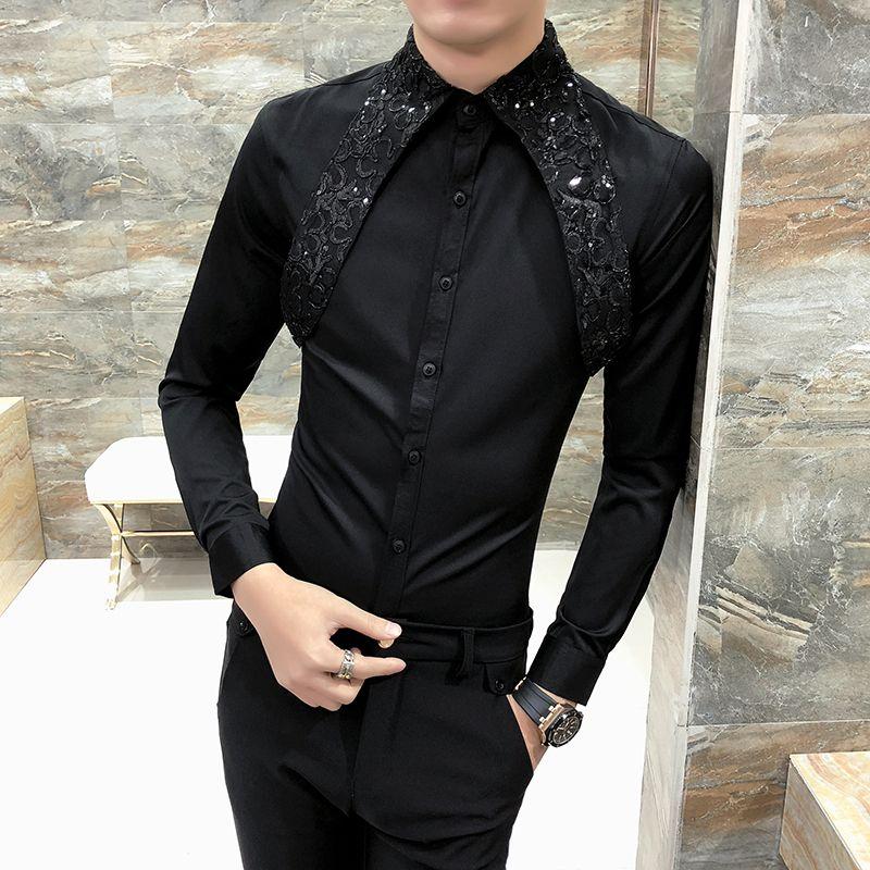 Chaude Hommes Chemise Slim Fit À Manches Longues 2018 Printemps Tuxedo Chemise  Hommes Sexy Dentelle Patchwork Casual Party Dress Chemises Hommes Noir   ... 67a5afb4669